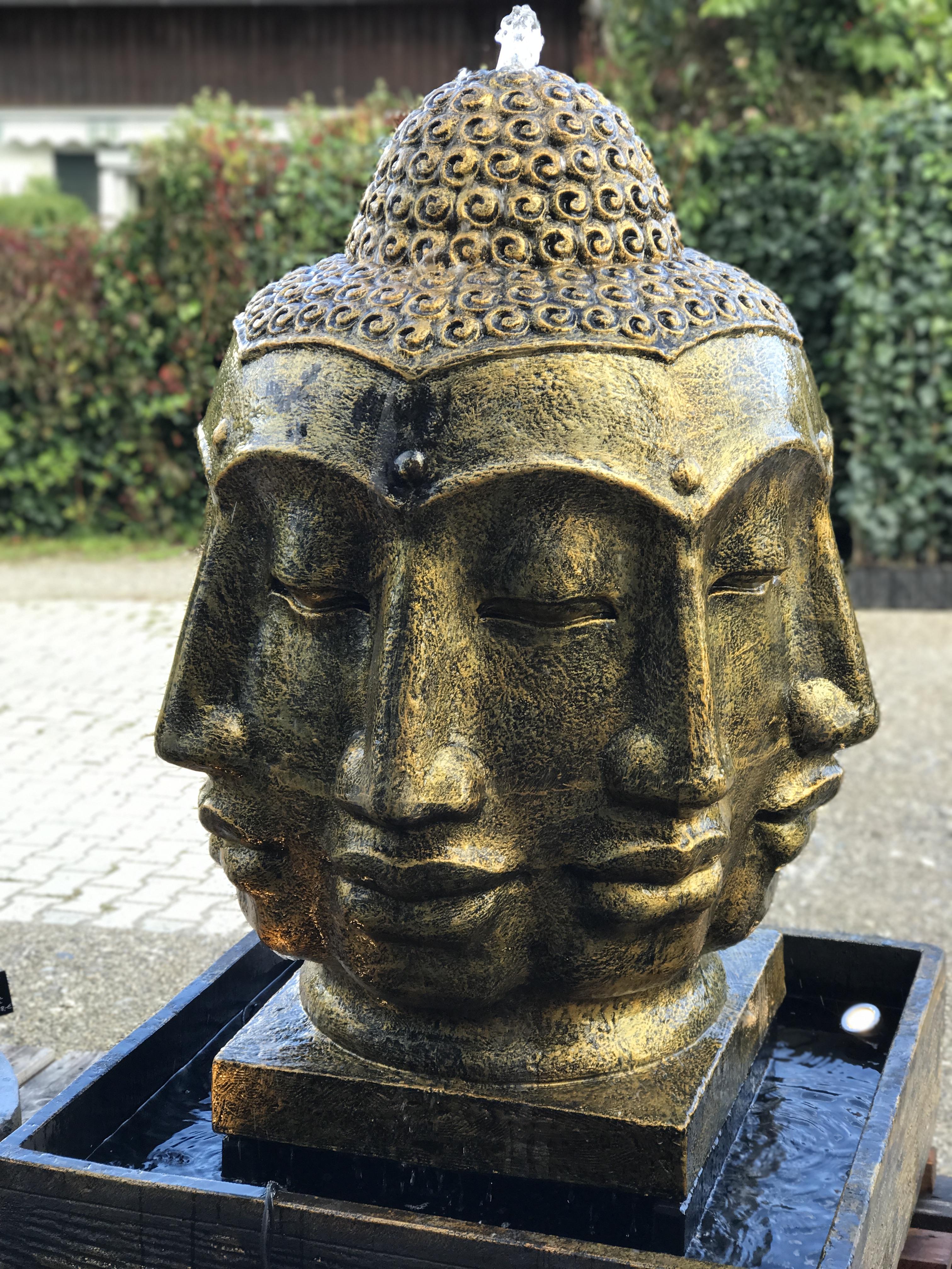 Wasserspiel buddha 8 buddhakopf buddha brunnen for Steinfigur buddha garten