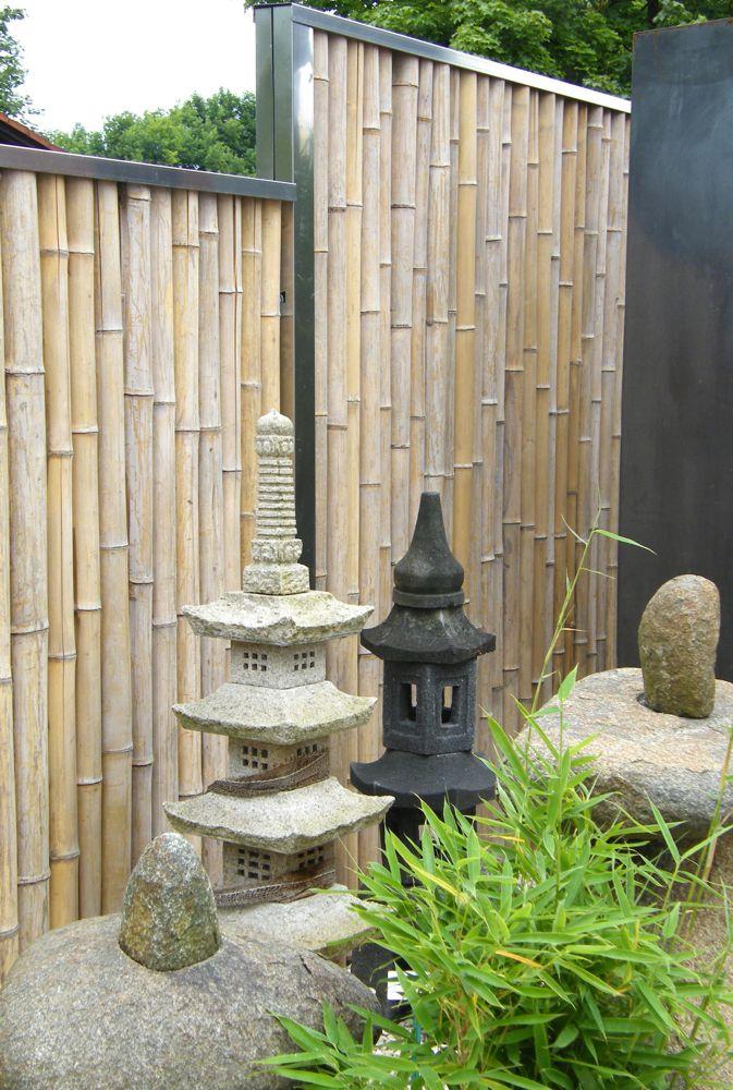 Bambus Sichtschutz Mit Edelstahlabdeckung