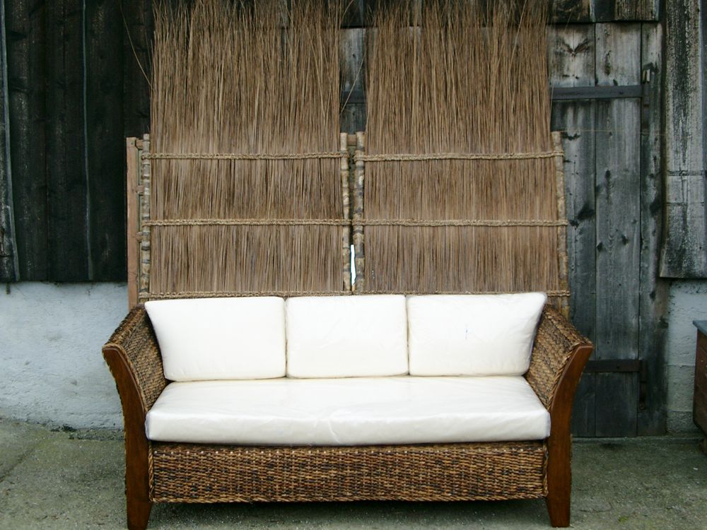edle rattan couch mit teak und abaca. Black Bedroom Furniture Sets. Home Design Ideas