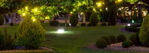 Beleuchteter Garten im dunkeln